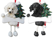 Poodle Dangling Christmas Ornament