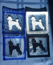 Hand Crafted 4 inch Poodle Glass Plates